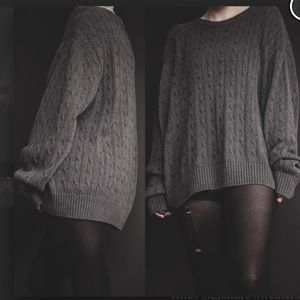 Vintage Brandini 100% Wool Grey Cable Knit Swetaer